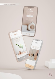 Drie zwevende telefoons mockup voor app-ontwerppresentaties.