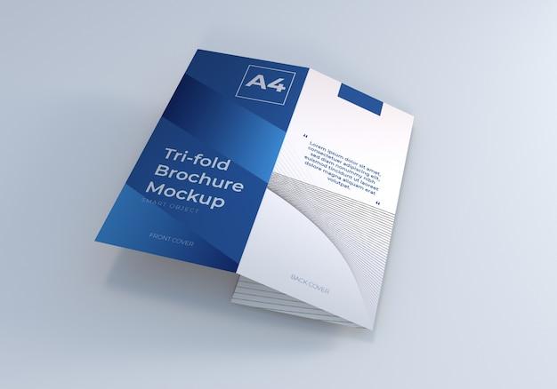 Driebladige brochure gevouwen mockup
