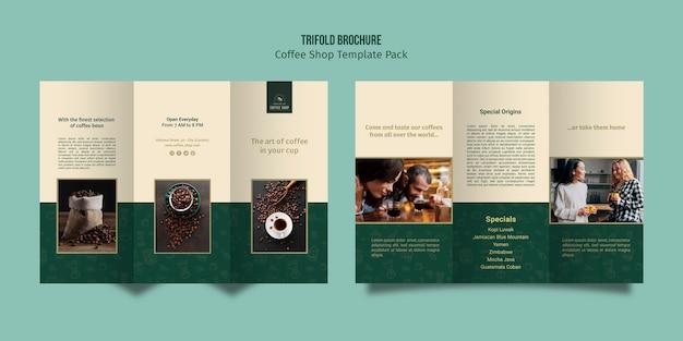 Driebladige brochure koffie winkel sjabloon