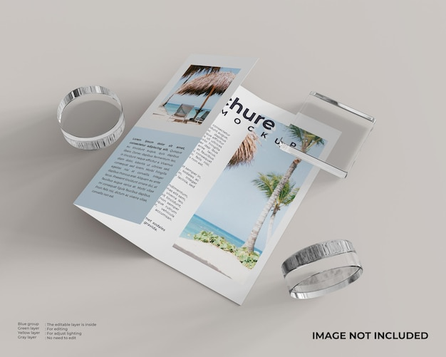 Driebladige brochure met een vierkante glazen doos en twee cilinderglas aan de zijkant