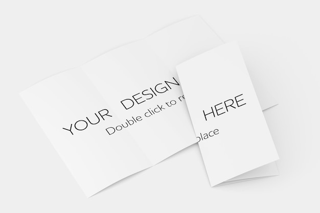 Driebladige brochure mock-up weergave - 3d-rendering