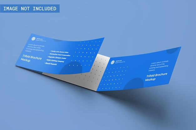 Driebladige brochure mockup haakse weergave
