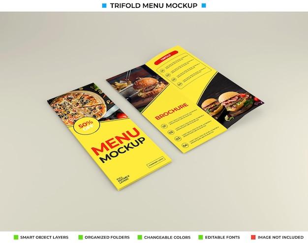 Driebladige brochure mockup met restaurantconcept