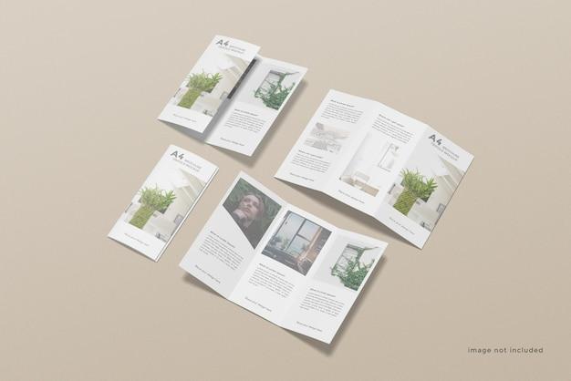 Driebladige brochure mockup-ontwerp ingesteld op hoge hoek