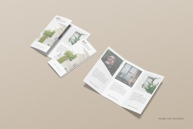 Driebladige brochure mockup ontwerp op hoge hoek