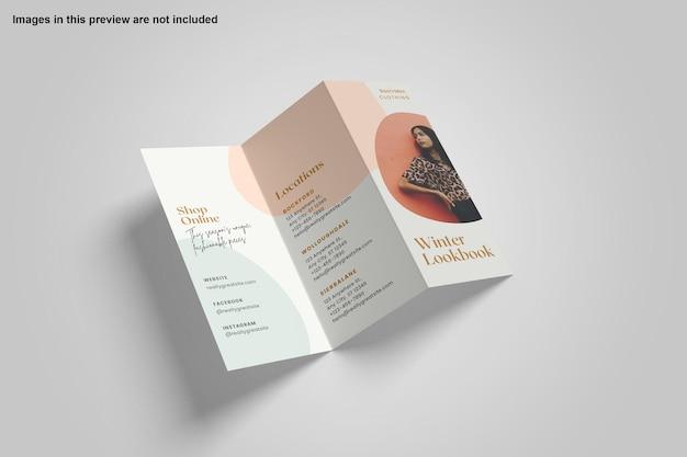 Driebladige brochure mockup ontwerp