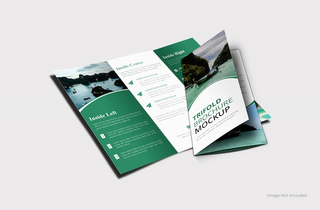 Driebladige brochure mockup sjabloon