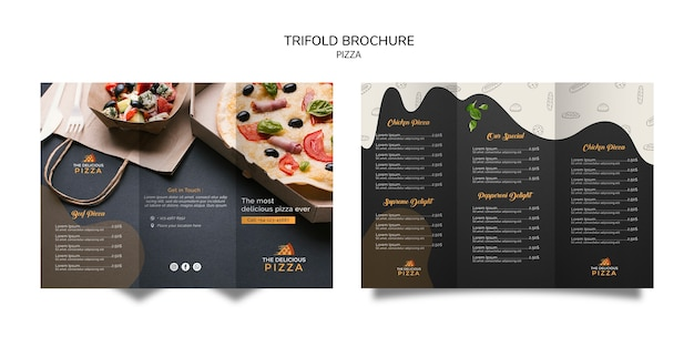 Driebladige brochure pizza