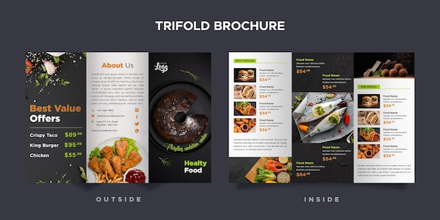 Driebladige brochure sjabloon voor restaurant