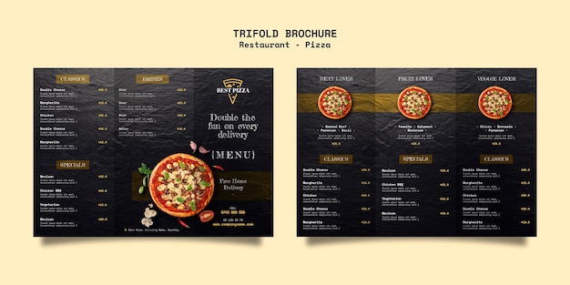 Driebladige brochure voor pizzarestaurant