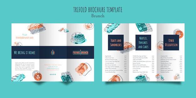 Driebladige brochuremalplaatje voor brunchrestaurant