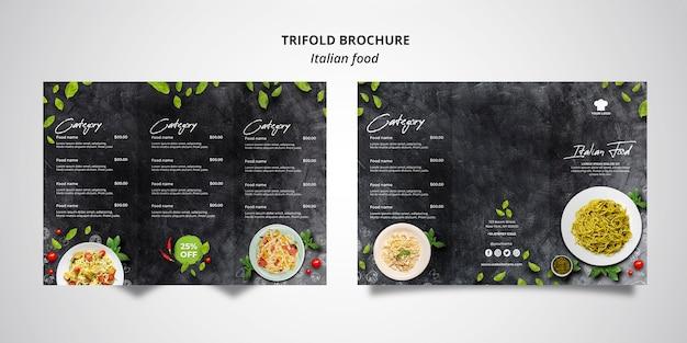 Driebladige brochuremalplaatje voor traditioneel italiaans voedselrestaurant