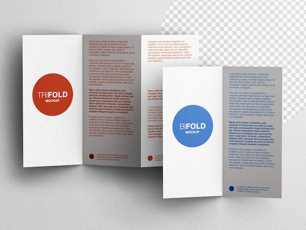 Driebladige en tweevoudige briefpapier brochure flyer mockup scène maker plat lag geïsoleerd
