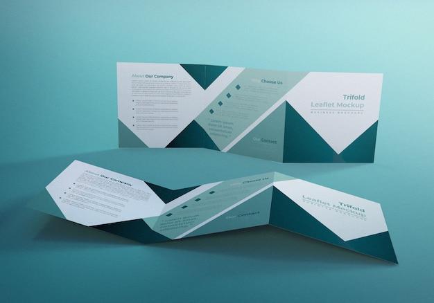Driebladige vierkante brochure mockup ontwerpsjabloon