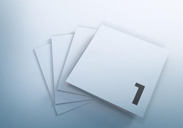 Driebladige vierkante brochure mockups ontwerp