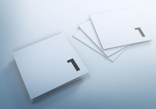 Driebladige vierkante brochure mockups ontwerpsjabloon