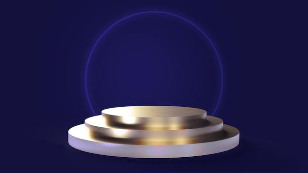 Drievoudige cirkelvormige gouden basis op een blauwe achtergrond voor het plaatsen van objecten