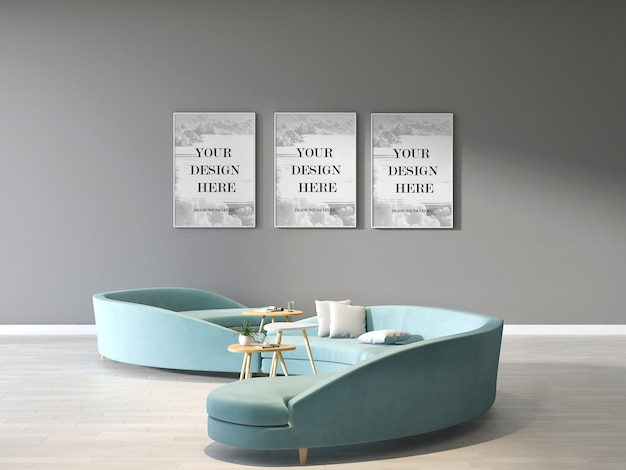 Drievoudige fotolijsten mockup op grijze muur met moderne groene cirkel bank in wachtkamer