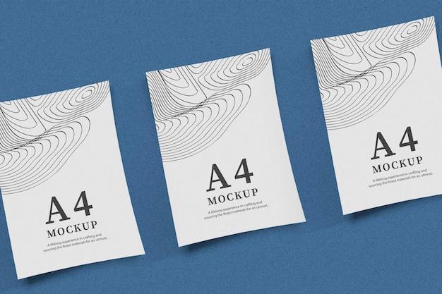Drievoudige papieren mockup-ontwerpweergave