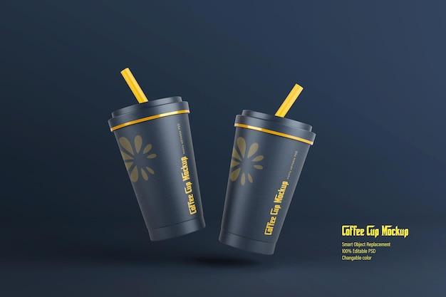 Drijvend papieren koffiekopje mockup-ontwerp