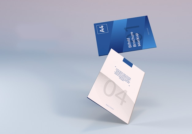 Drijvende a4 tweevoudige brochure mockup