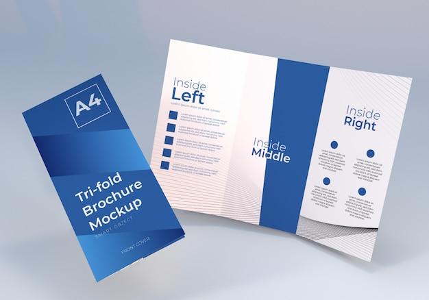 Drijvende driebladige brochure mockup