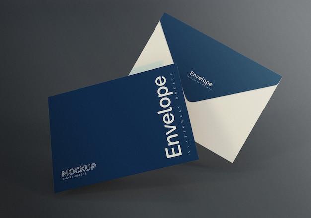 Drijvende envelop mockup design met donkere grijze achtergrond