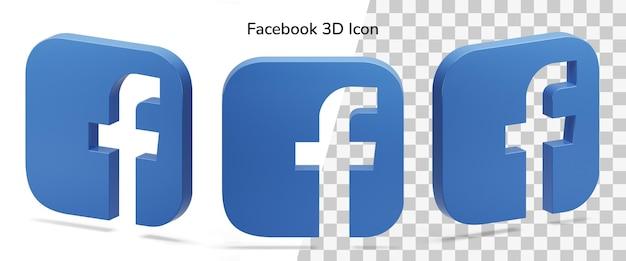 Drijvende geïsoleerde facebook-logo isometrische 3d-pictogramactief