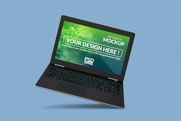 Drijvende laptop psd mockup van hoge kwaliteit