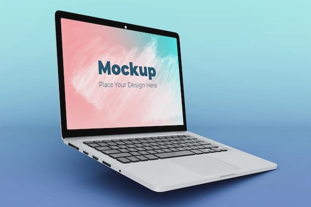 Drijvende laptop scherm mockup ontwerpsjabloon