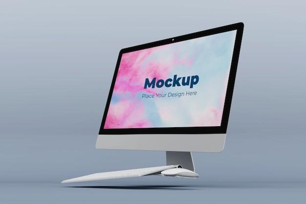 Drijvende mockup ontwerpsjabloon voor desktopscherm