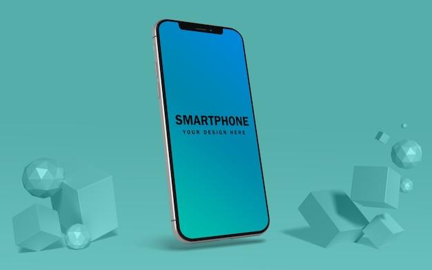Drijvende mockup-sjabloon voor mobiele telefoonscherm gratis psd