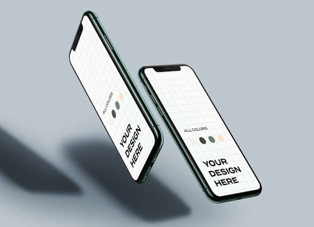 Drijvende mockups voor mobiele telefoons