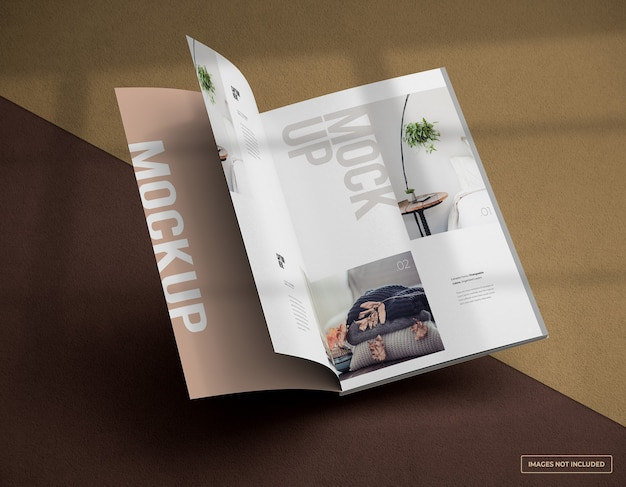 Drijvende open magazine mockup met binnenpagina's