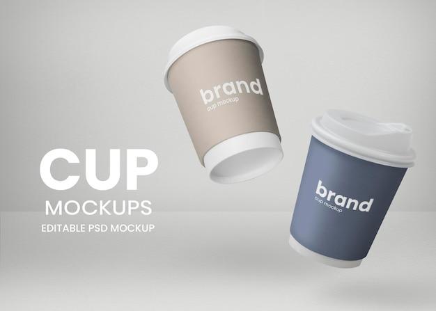 Drijvende papieren bekers mockup psd voor afhaalmaaltijden in coffeeshops