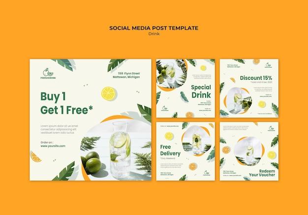 Drink concept sociale media post sjabloon