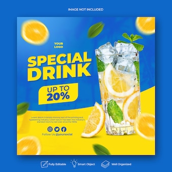 Drink menupromotie social media instagram postbannersjabloon