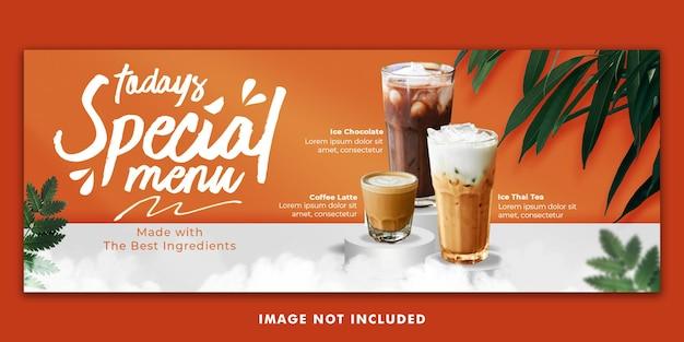 Drinken menu facebook cover banner template voor restaurantpromotie
