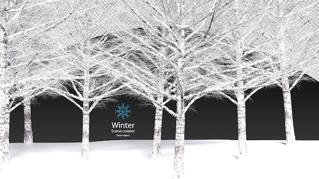 Droge boom bedekt met verse sneeuwtak zonder bladeren uitknippad