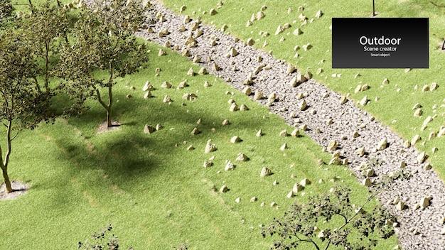 Droge stroom met gras en stenen droge grot kreek rivierbedding