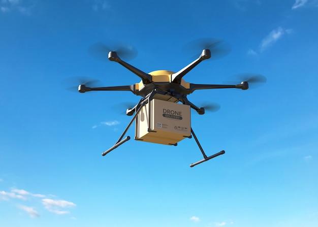 Drone de entrega con el cartón.