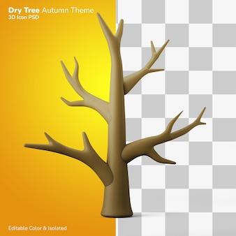 Droog tak boom herfst seizoen 3d illustratie weergave pictogram bewerkbaar geïsoleerd