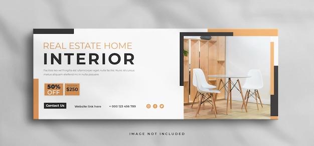 Droom modern interieur huis te koop onroerend goed facebook tijdlijn voorbladsjabloon