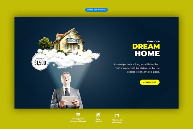 Droomhuis voor verkoopbannersjabloon voor web
