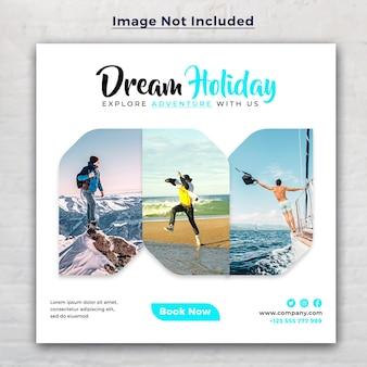 Droomvakantie vakantie sociale media post en reizen webbanner