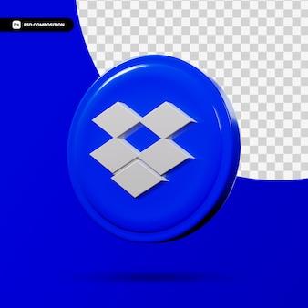 Dropbox 3d-rendering logo applicatie geïsoleerd