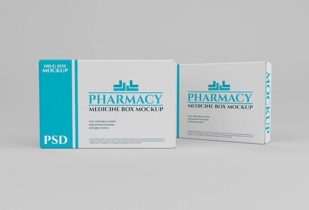 Drug box verpakking mockup in apotheek concept