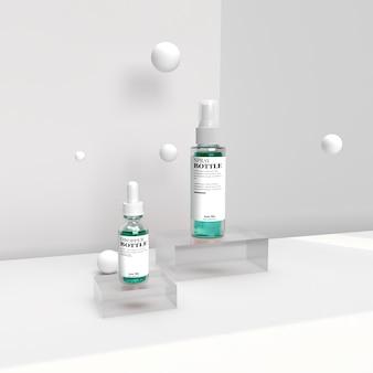 Druppelaar en spray cosmetische realistische 3d render advertentie mockup