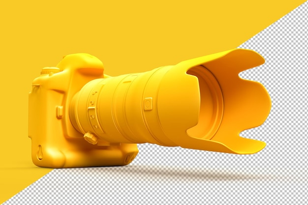 Dslr-camera met telezoomlens in 3d-rendering