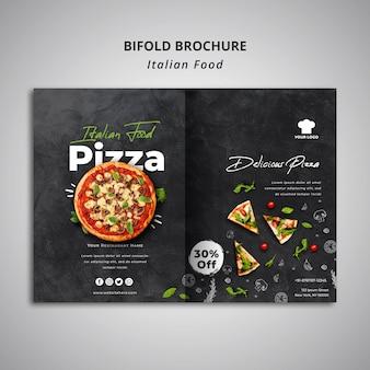 Dubbel gevouwen brochuremalplaatje voor traditioneel italiaans voedselrestaurant